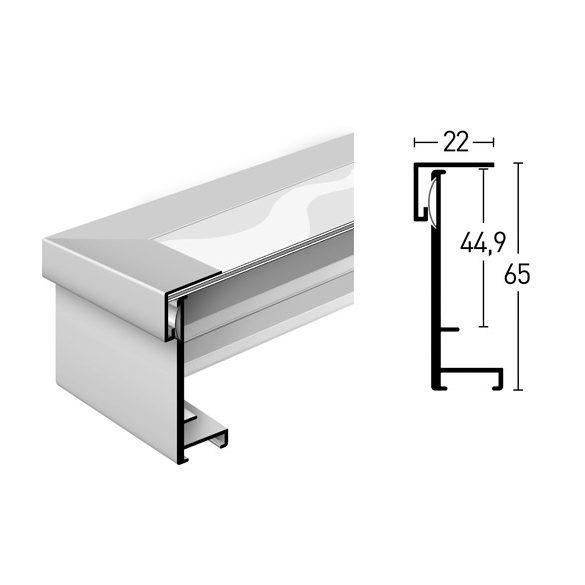 Frame Box matt ezüst  70x90 plexivel
